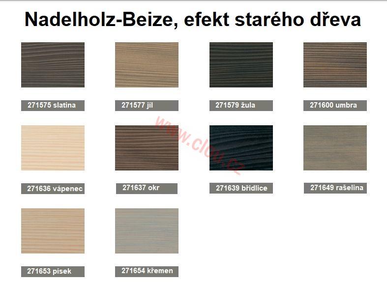 Deset nových odstínů pro mořidel Nadelholzbeize na efekt starého dřeva.